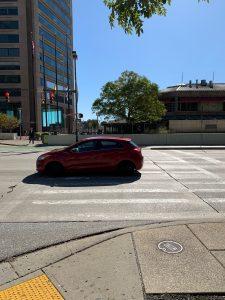 Image of car in crosswalk