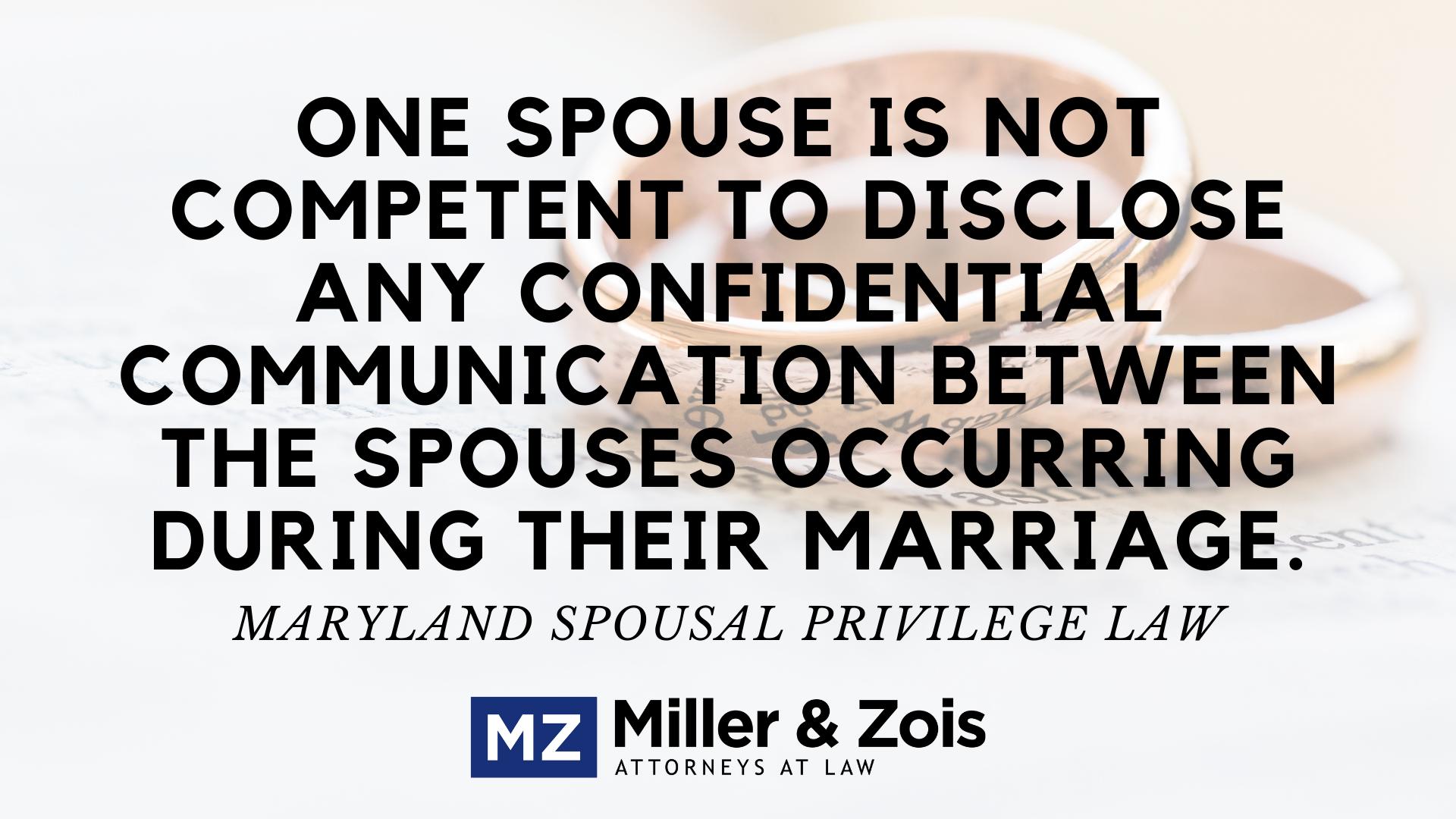 Maryland Marital Privilege
